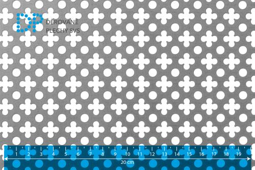Děrovaný plech hliníkový Křížek - tečka No. 10
